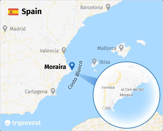 Moraira na mapie Hiszpanii