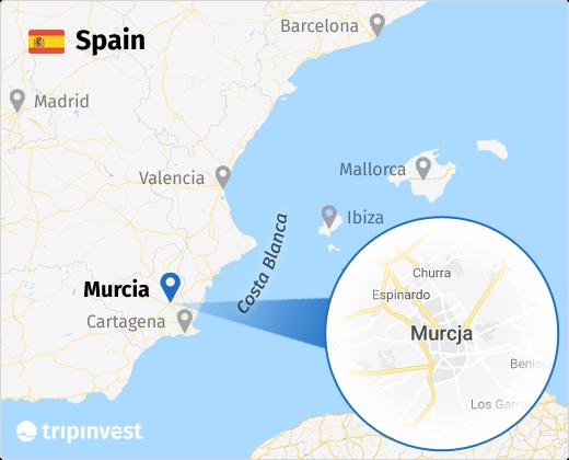 Murcja na mapie Hiszpanii